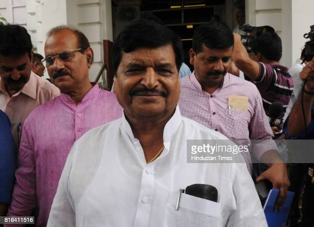 Senior SP leader Shivpal Yadav coming out of Vidhan Sabha House after casting his vote during the presidential election on July 17 2017 in Lucknow...
