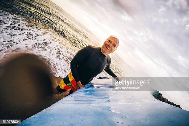 Senior surfer man