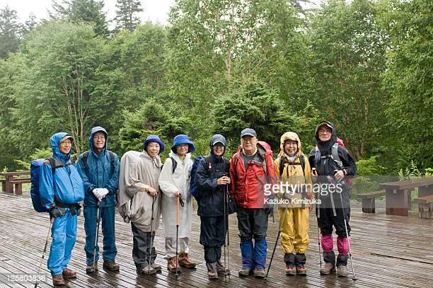 Senior tour group portrait,hiking