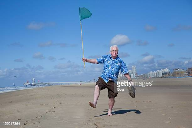 Senior tourist on the beach