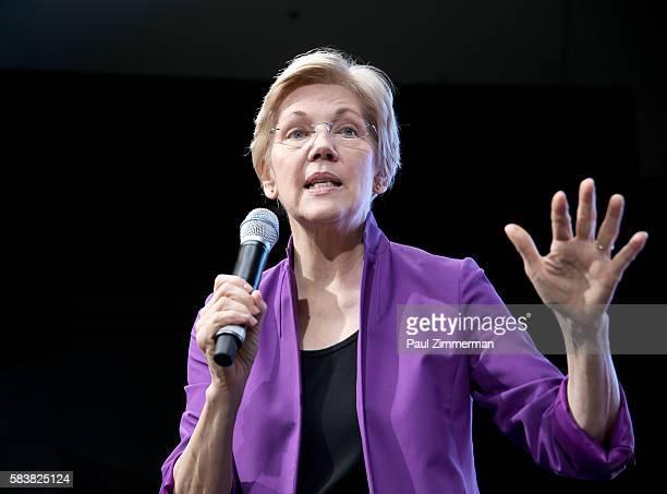 Senior United States Senator from Massachusetts Elizabeth Warren speaks onstage at EMILY's List Breaking Through 2016 at the Democratic National...