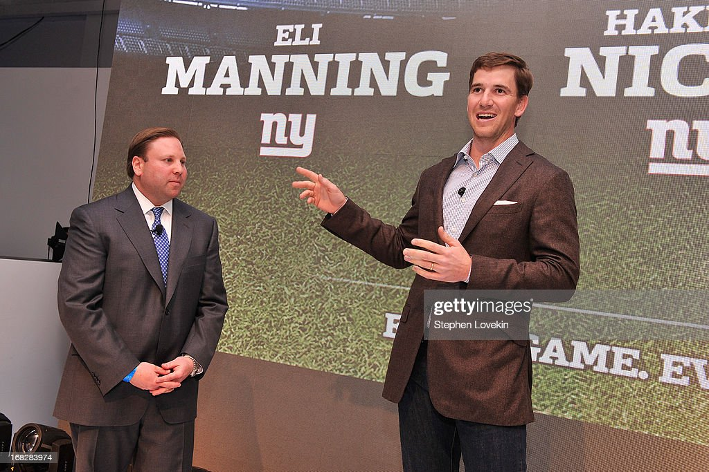 Senior Vice President, Ad Sales, Keith Kazerman and NFL Player <a gi-track='captionPersonalityLinkClicked' href=/galleries/search?phrase=Eli+Manning&family=editorial&specificpeople=202013 ng-click='$event.stopPropagation()'>Eli Manning</a> speak onstage at DIRECTV's 2013 National Ad Sales Upfront on May 7, 2013 in New York City.