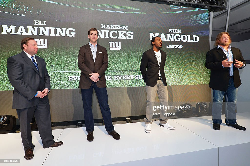 Senior Vice President, Ad Sales, Keith Kazerman, NFL Players Eli Manning, Hakeem Nicks, and Nick Mangold speak onstage at DIRECTV's 2013 National Ad Sales Upfront on May 7, 2013 in New York City.