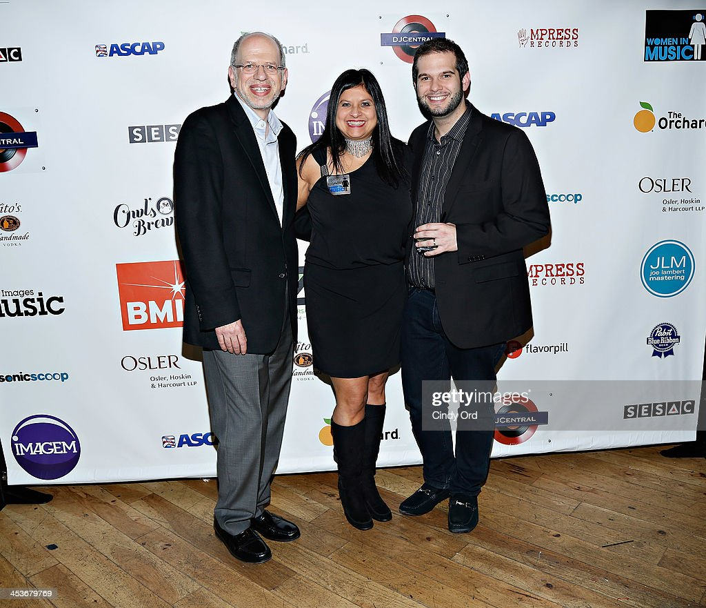 Senior Vice President at ASCAP Seth Saltzman, President of Women in Music Neeta Ragoowansi and manager, business affairs at ASCAP Eric Lense attend the Women In Music presents the 2013 holiday party at Le Poisson Rouge on December 4, 2013 in New York City.
