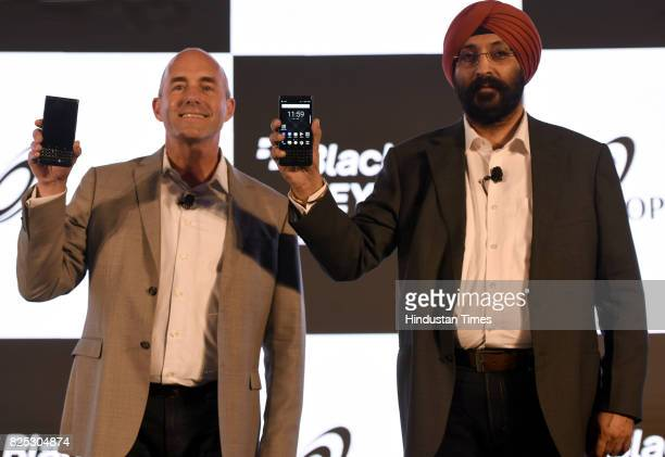 Senior Vice President Blackberry Alex Thurber and Hardeep Singh Executive Director Optiemus during the launch of new blackberry KEYone limited...