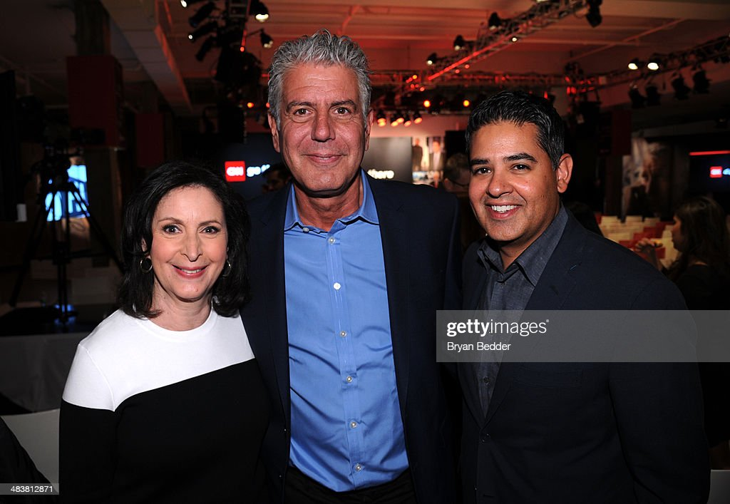 Senior vice president for talent and content development Amy Entelis, Anthony Bourdain and Senior vice president of development and acquisitions Vinnie Malhotra attend the CNN Upfront 2014 at Skylight Modern on April 10, 2014 in New York City. 24679_002_0417.JPG