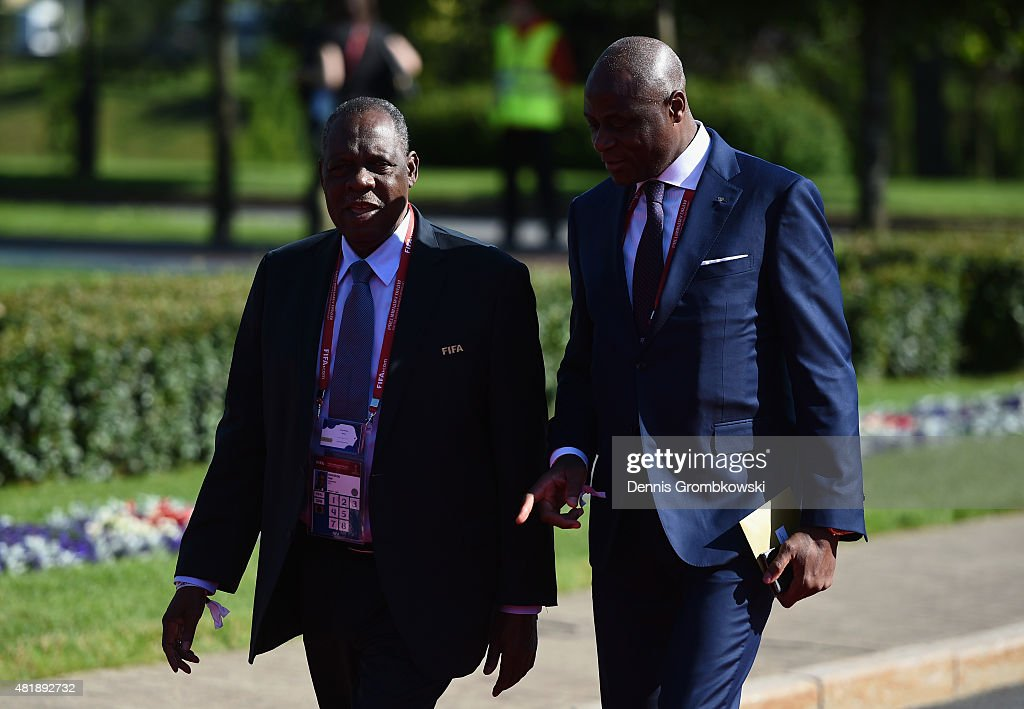 Senior Vice President Issa Hayatou of Cameroon (L) and attends the Preliminary Draw of the 2018 FIFA World Cup in Russia at The Konstantin Palace on July 25, 2015 in Saint Petersburg, Russia.