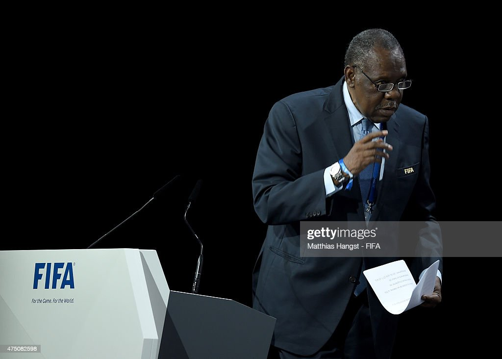 Senior Vice President Issa Hayatou of Cameroon talks during the 65th FIFA Congress at the Hallenstadion on May 29 2015 in Zurich Switzerland