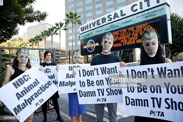 Senior Vice President Lisa Lange and PETA members protest against NBC's 'Animal Practice' on September 19 2012 in Burbank California