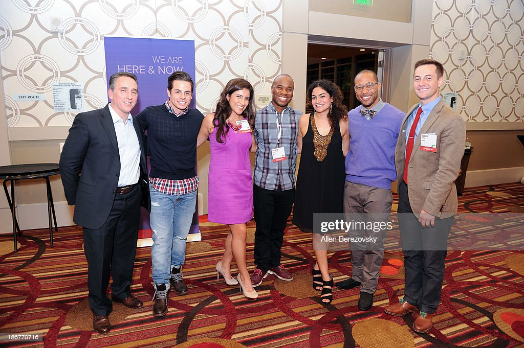 senior vice president of ad sales and marketing for NUVOtv Craig Geller, Beau 'Casper' Smart, Alexandra Reyes, dancer George Jones Jr., a guest, dancer Jimmy R.O. Smith, and Jason Silva attend the ANA Multicultural Cocktail Reception sponsored by NUVOtv at JW Marriott Los Angeles at L.A. LIVE on November 3, 2013 in Los Angeles, California.