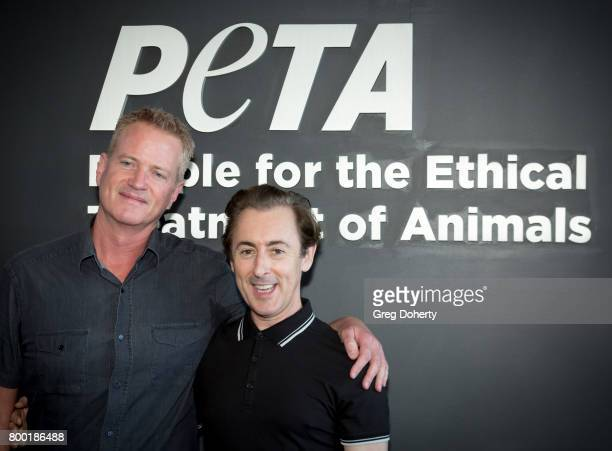 Senior Vice President of Campaigns Dan Mathews and actor Alan Cumming attend a news conference with PETA exposing the fate of discarded chimpanzees...