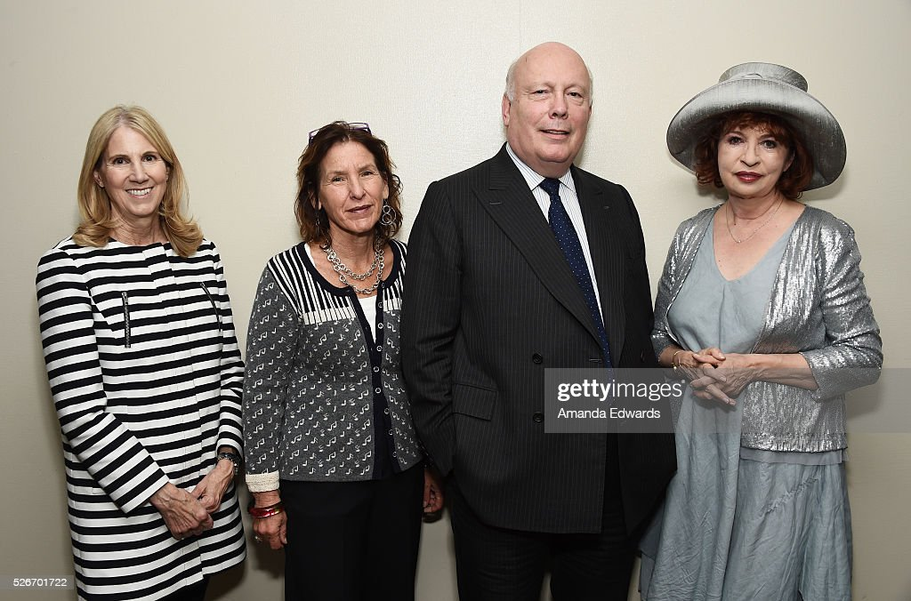 Senior Vice President of Education and Public Programs Jane Burrell, Writers Bloc Founder Andrea Grossman and writers Julian Fellowes and Patt Morrison attend the LACMA and Writers Bloc presentation of Julian Fellowes In Conversation with Patt Morrison at the Bing Theatre at LACMA on April 30, 2016 in Los Angeles, California.