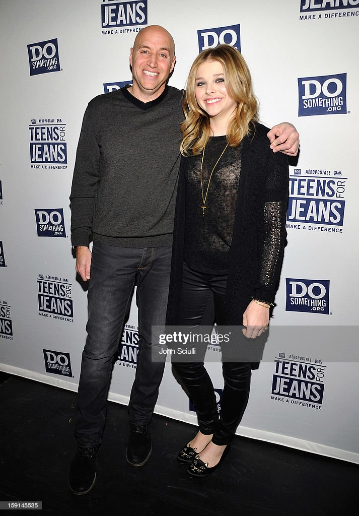 Senior Vice President of Marketing & E-Commerce of Aeropostal Scott Birnbaum and host Chloe Grace Moretz attend the DoSomething.org and Aeropostale launch of the 6th annual 'Teens For Jeans' hosted by Chloe Moretz at Palihouse on January 8, 2013 in West Hollywood, California.
