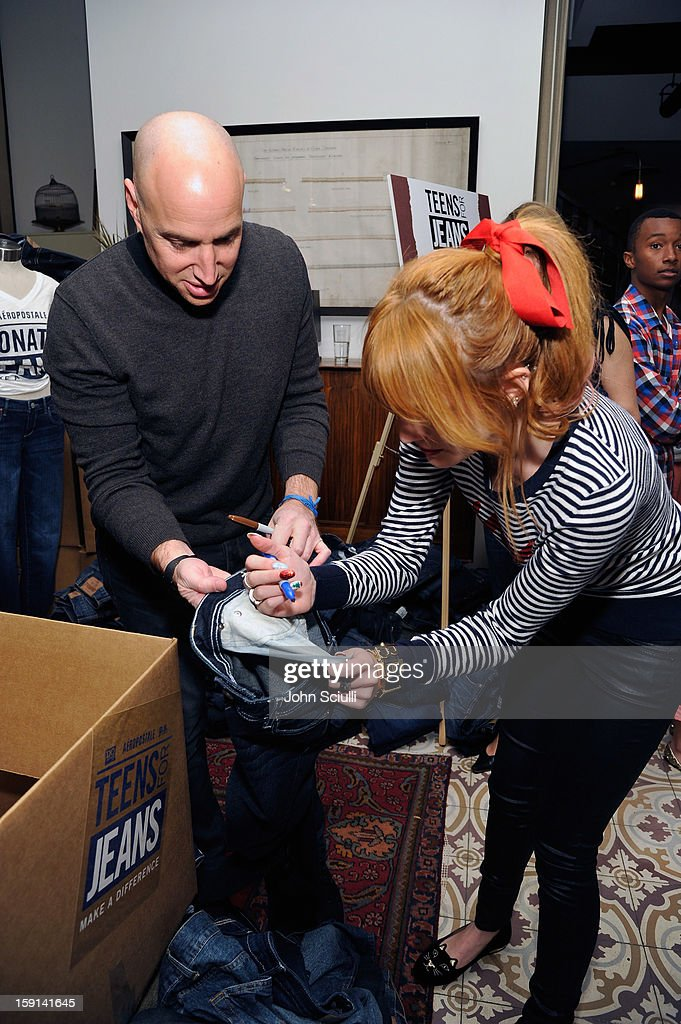 Senior Vice President of Marketing & E-Commerce of Aeropostale Scott Birnbaum and actress Bella Thorne attend the DoSomething.org and Aeropostale launch of the 6th annual 'Teens For Jeans' hosted by Chloe Moretz at Palihouse on January 8, 2013 in West Hollywood, California.