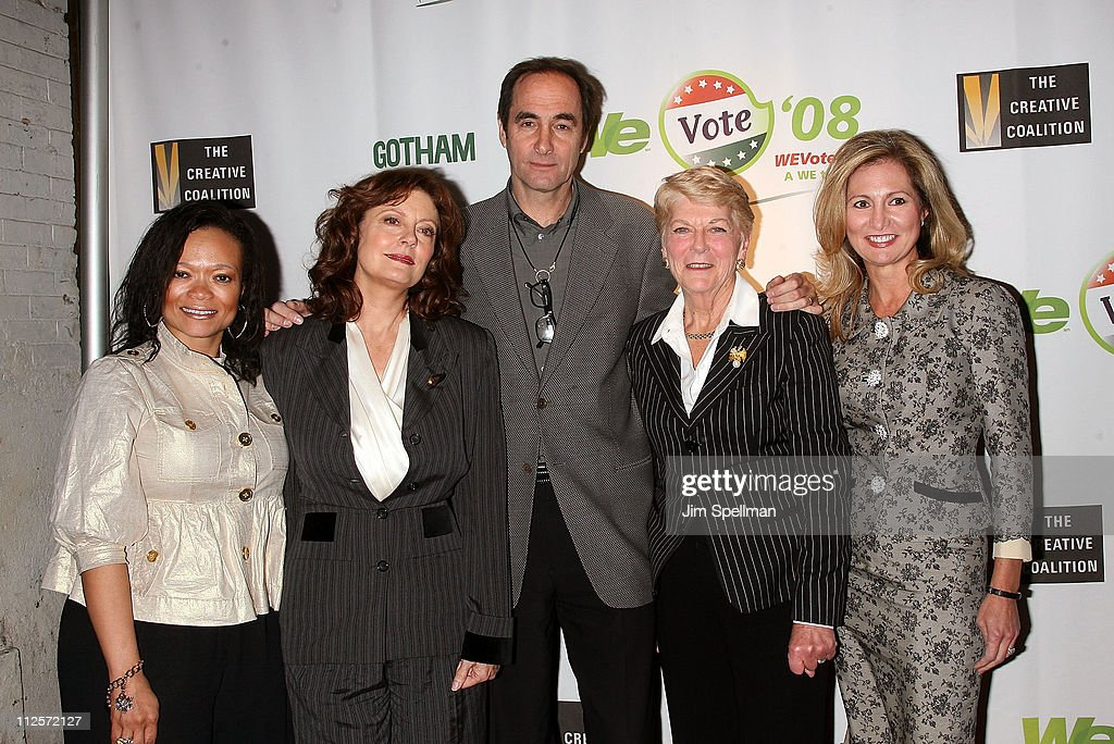 Senior Vice President of Marketing for WE TV Kenetta Bailey, Actress <a gi-track='captionPersonalityLinkClicked' href=/galleries/search?phrase=Susan+Sarandon&family=editorial&specificpeople=202474 ng-click='$event.stopPropagation()'>Susan Sarandon</a>, President and CEO of Rainbow Media Josh Sapan, <a gi-track='captionPersonalityLinkClicked' href=/galleries/search?phrase=Geraldine+Ferraro&family=editorial&specificpeople=217235 ng-click='$event.stopPropagation()'>Geraldine Ferraro</a> and Executive Vice President and General Manager of WE TV <a gi-track='captionPersonalityLinkClicked' href=/galleries/search?phrase=Kim+Martin&family=editorial&specificpeople=242970 ng-click='$event.stopPropagation()'>Kim Martin</a> arrive at the Launch of WE Vote '08 at Tenjune on November 28, 2007 in New York City.
