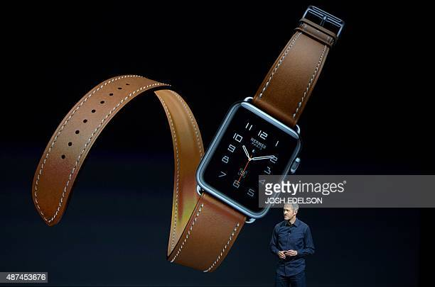 Senior Vice President of Operations for Apple Jeff Williams speaks during an Apple media event in San Francisco California on September 9 2015 Apple...