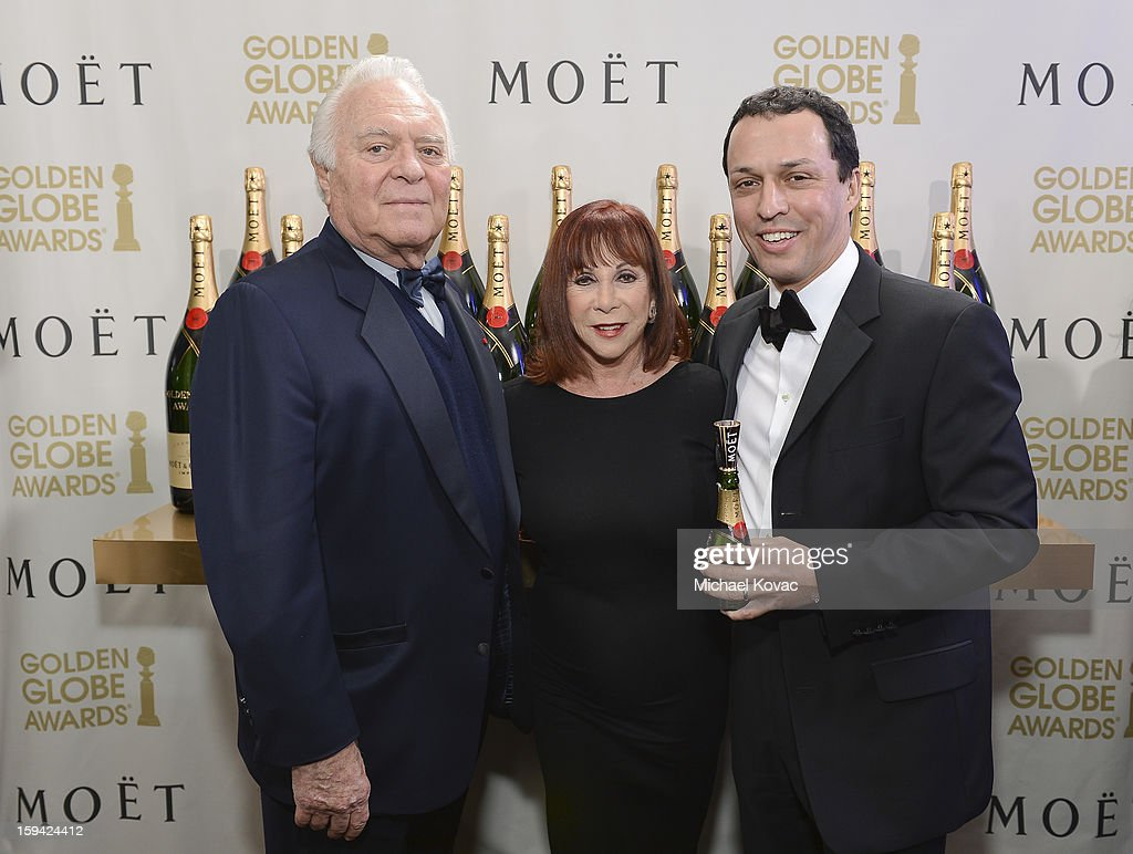 Senior vice president of Southern Wine and Spirits of America Mel Dick, Bobbi Dick and John Potter attend Moet & Chandon At The 70th Annual Golden Globe Awards Red Carpet at The Beverly Hilton Hotel on January 13, 2013 in Beverly Hills, California.