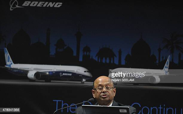 Senior Vice President Sales Asia Pacific Boeing Commercial Airplanes Dinesh Keskar speaks at a press conference at the India Aviation 2014 airshow at...