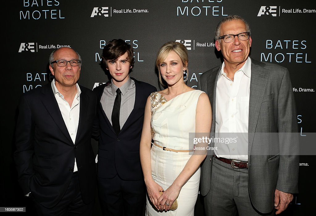 Senior Vice President-Programming Robert DiBitetto, actors Freddie Highmore, Vera Farmiga and executive producer Carlton Cuse attend A&E's 'Bates Motel' Premiere Party on March 12, 2013 in West Hollywood, California.