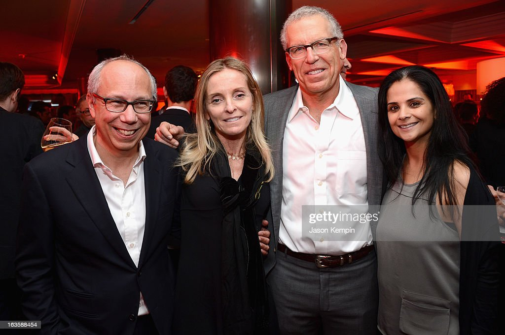 Senior Vice President-Programming Robert DiBitetto, A&E Senior Vice President, Drama Series Tana Nugent Jamieson, Executive producer Carlton Cuse and Universal Television Executive Vice President Bela Bajaria attend A&E's 'Bates Motel' Premiere Party on March 12, 2013 in West Hollywood, California.