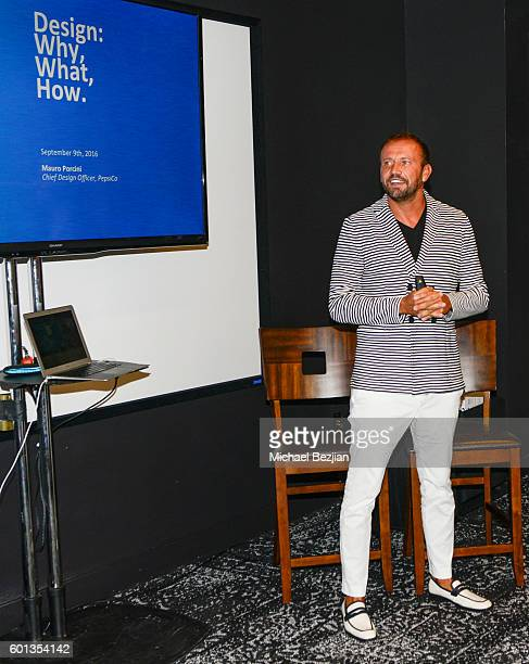 Senior VP and Chief Design Officer of PepsiCo Mauro Porcini speaks on stage at Brand Innovators Fashion and Beauty at Pepsi Design Innovation Studio...