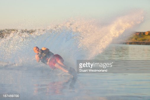 Senior Waterskiier : Stock Photo