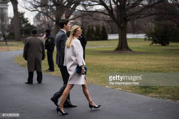 Senior White House Advisor Jared Kushner and his wife Ivanka Trump walk to Marine One on the South Lawn of the White House in Washington DC on Friday...