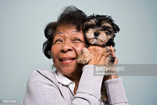 Senior Woman and a Puppy