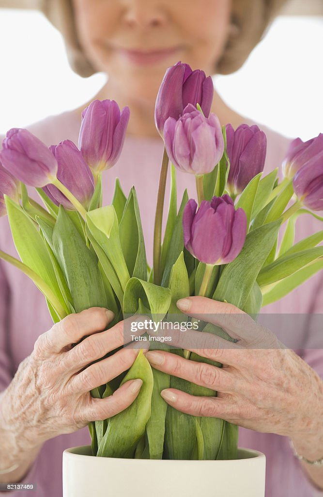 Senior woman arranging flowers