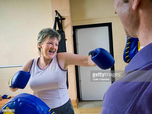 senior woman boxing exercise