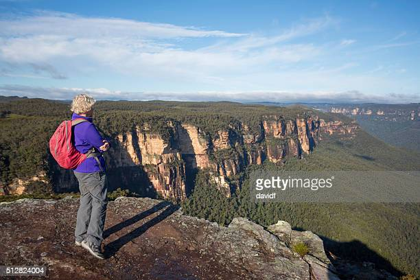 Senior Woman Bushwalker Enjoying Spectacular Landscape Views