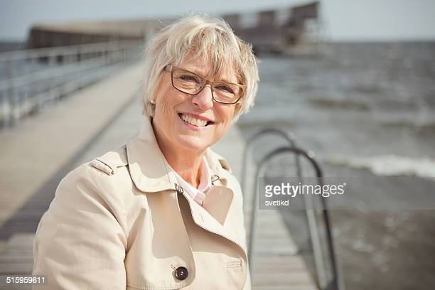Senior woman by the sea.
