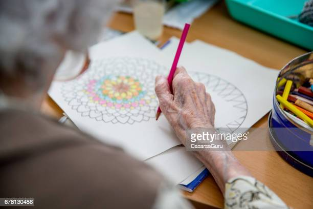 Senior Woman Coloring Mandala
