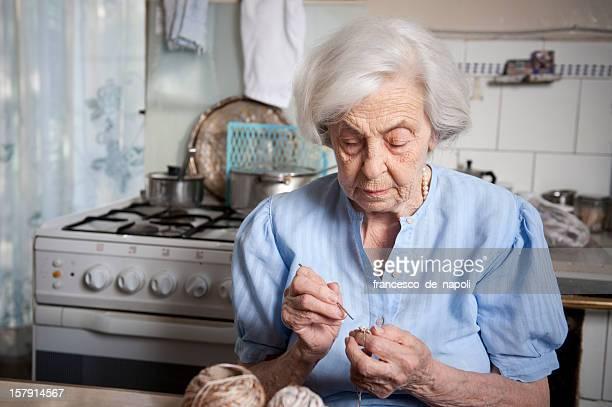 Senior woman crocheting