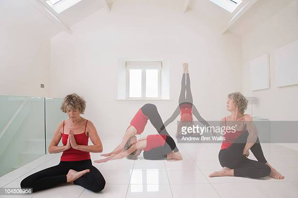 Senior woman doing a series of yoga excercises