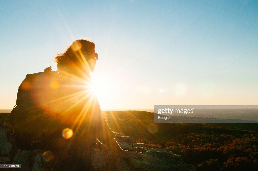 Senior Woman Enjoys Scenic Hike Mountain View Sunset Catskill Mountains : Stock Photo