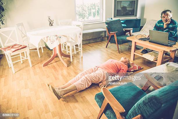 Senior Woman Exercising, Man with Laptop, Brac, Croatia, Europe