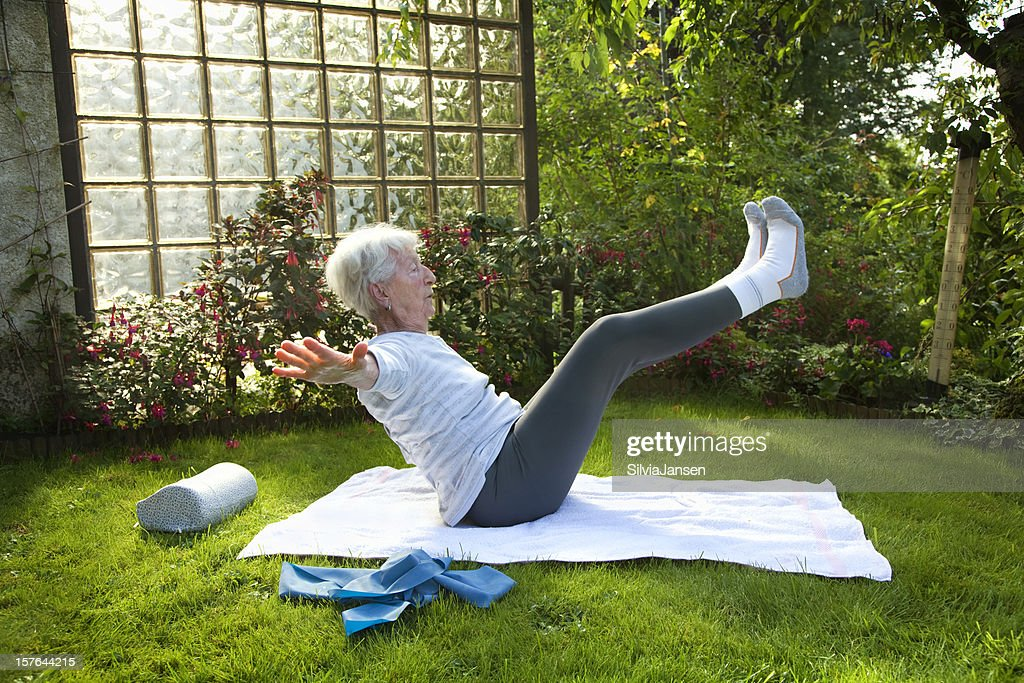 senior woman exercising outdoors
