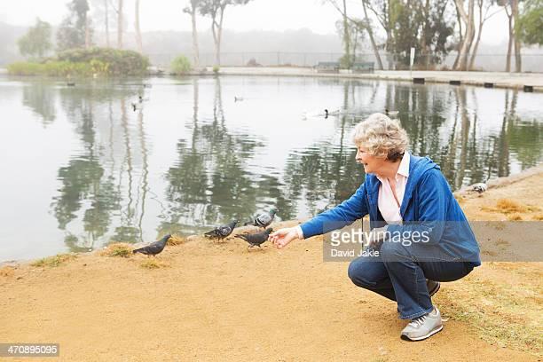 Senior woman feeding pigeons by the lake