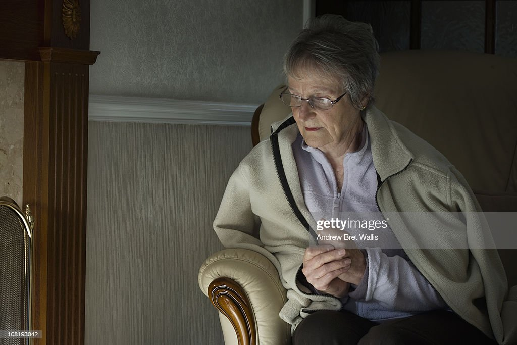 senior woman feeling the cold in her home