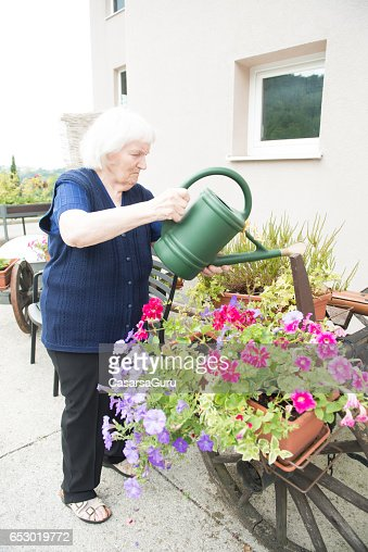 Senior Woman Gardening in The Retirement Home : Photo
