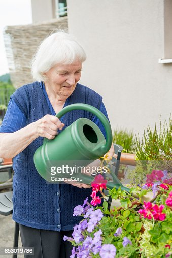 Senior Woman Gardening in The Retirement Home : Bildbanksbilder