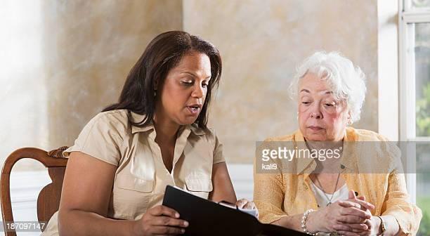 Senior woman getting advice
