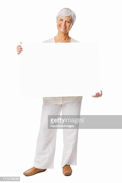 Senior Woman Holding a White Blank Sign - Isolated