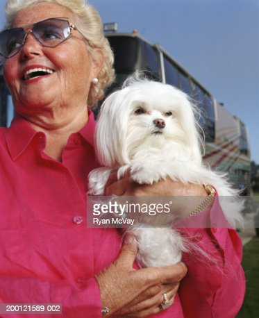 Senior woman holding Maltese dog, smiling : Stock Photo
