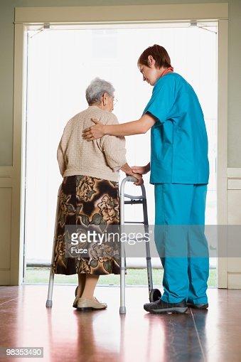 Senior woman in a nursing home : Stock Photo