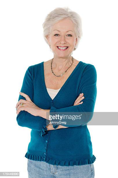 Senior Woman In Casual Wear Standing Arms Crossed