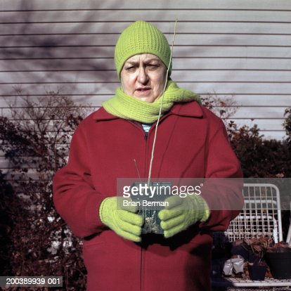 Senior woman in garden with potted plant, portrait, winter : Stock Photo