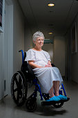 Senior woman in wheelchair iin hospital