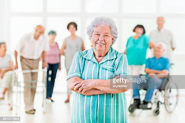 Senior woman looking at the camera.